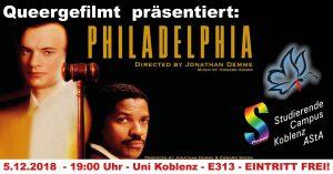 Queergefilmt: Philadelphia @ Uni Koblenz, Raum E 313 | Koblenz | Rheinland-Pfalz | Deutschland